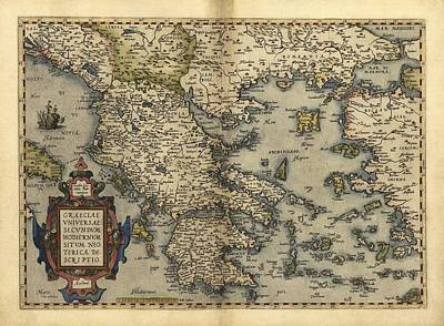 Ortelius's Map Of Greece, 1570 Print by Library Of Congress, Geography And Map Division