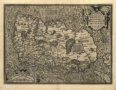 Ortelius's Map Of Ireland, 1598 Print by Library Of Congress, Geography And Map Division