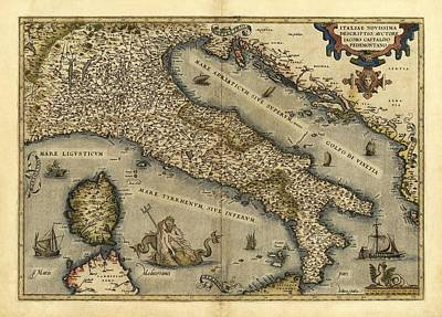 Ortelius's Map Of Italy, 1570 Print by Library Of Congress, Geography And Map Division