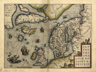 Ortelius's Map Of Northern Europe, 1570 Print by Library Of Congress, Geography And Map Division