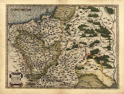 Ortelius's Map Of Poland, 1570 Print by Library Of Congress, Geography And Map Division