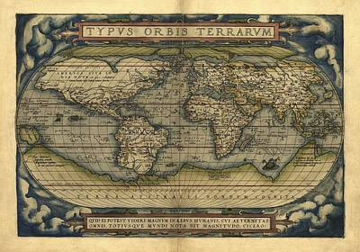 Ortelius's World Map, 1570 Print by Library Of Congress, Geography And Map Division