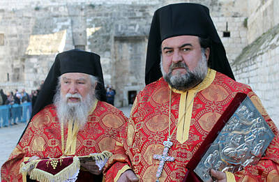 Orthodox Priests During Orthodox Christmas Original by Munir Alawi