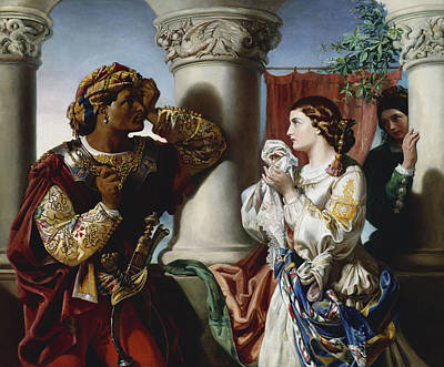 Othello And Desdemona Print by Daniel Maclise