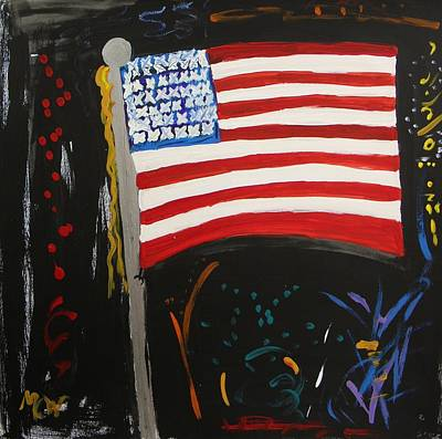 Fireworks Drawing - Our Flag Joins The Celebration by Mary Carol Williams