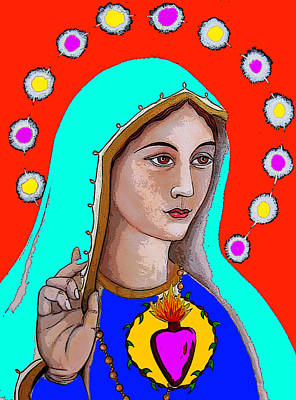 Religious Art Painting - Our Lady Of Fatima Photoshop by Christina Miller