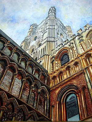 Outside Ely Cathedral Print by Emmanuel Turner