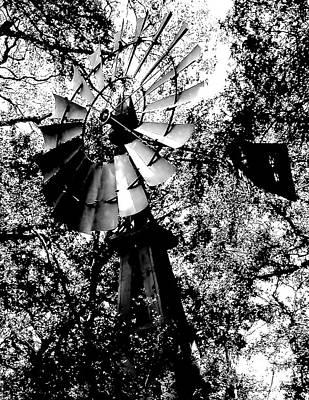 Abstract Windmill Photograph - Overgrown Windpump by Robert Frederick
