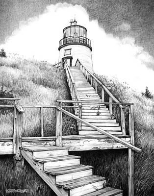 Owl's Head Lighthouse Print by Bob Manthey