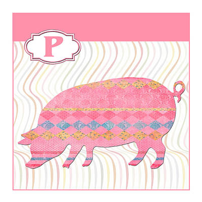 Education Painting - P Is For Pig by Elaine Plesser