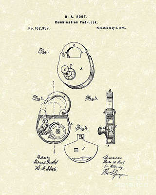 Pad Lock 1875 Patent Art Print by Prior Art Design