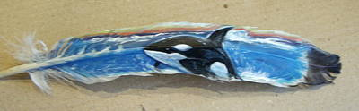 Orca Mixed Media - Painted Feather Of Orca Whale by Linda Nielsen