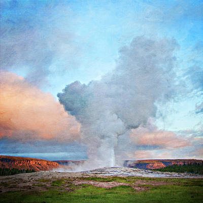 Painterly Old Faithful, Yellowstone National Park Print by Trina Dopp Photography