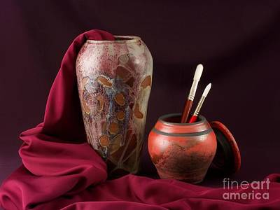 Raku Photograph - Painterly Pots by Vilas Malankar