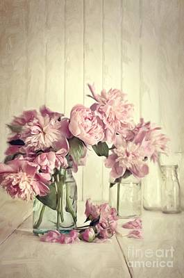Painting Of Pink Peonies In Glass Jar/digital Painting   Print by Sandra Cunningham