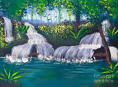 Painting Of Water Fall Print by Mongkol Chakritthakool