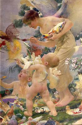Angel Art Painting - Painting The Birds by Franz Dvorak