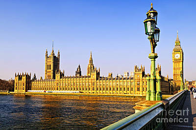 Streetlight Photograph - Palace Of Westminster From Bridge by Elena Elisseeva