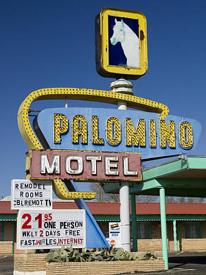 Palomino Motel Route 66 Print by Carol Leigh