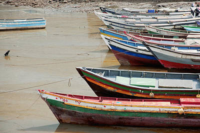 Panama, Panama City, Fishing Boats On Coastline At Low Tide Print by DreamPictures