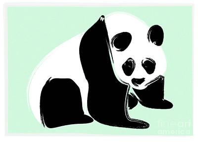 Panda On Green Print by Michelle Bergersen
