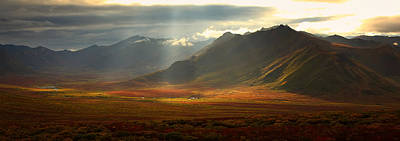 Panoramic Image Of The Cloudy Range Print by Robert Postma