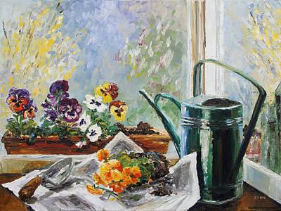 Fenster Painting - Pansies For My Window Box by Barbara Pommerenke