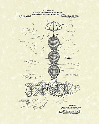 Parachute Attachment For Flying Machines 1919 Patent Art Print by Prior Art Design