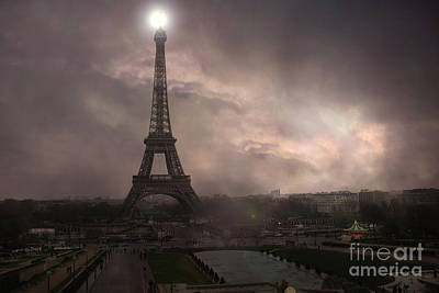 Surreal Paris Decor Photograph - Paris - Eiffel Tower - Dreamy Surreal Brown Sepia With Lights by Kathy Fornal
