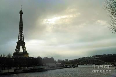Surreal Paris Decor Photograph - Paris Eiffel Tower Mint Sky Clouds - La Tour Eiffel - Dreamy Eiffel Tower Photography by Kathy Fornal