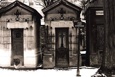 Paris - Pere La Chaise Cemetery Mausoleums Print by Kathy Fornal