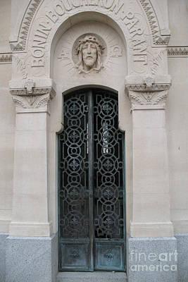 Religious Art Photograph - Paris Mausoleum Door With Jesus by Kathy Fornal
