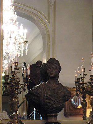 Paris Sculpture Bust - Hotel Regina Chandelier Print by Kathy Fornal
