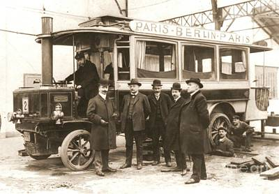 New To Vintage Photograph - Paris To Berlin Steam Omnibus 1900 by Padre Art