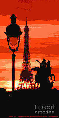 Paris Tour Eiffel Red Print by Yuriy  Shevchuk