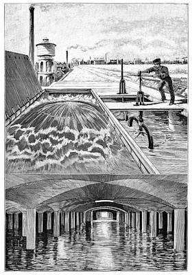 Paris Water Supplies, 19th Century Print by