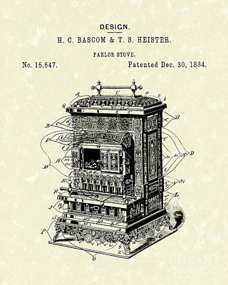 Heat Drawing - Parlor Stove Bascom And Heister 1884 Patent Art by Prior Art Design
