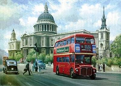 Transportart Painting - Passing St Pauls. by Mike  Jeffries