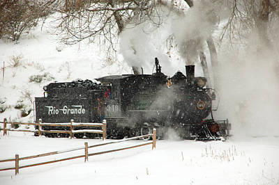 Train In The Winter Photograph - Passing The Fence by Ken Smith