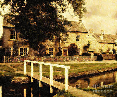 Sepia Flowers Digital Art - Passing Through The Cotswolds by Lianne Schneider