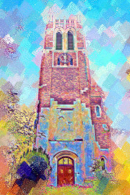 Michigan State Digital Art - Pastel Beaumont Tower by Paul Bartoszek