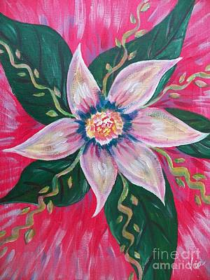 Fushia Painting - Pastel Rainbow Flower by Judy Via-Wolff