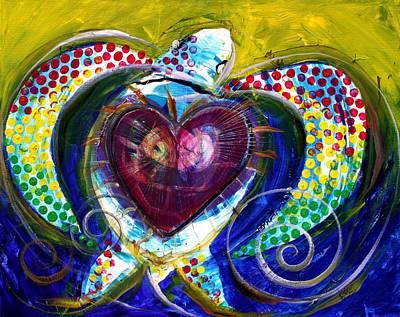 Www.ipaintseaturtles.com Painting - Pastel Turtle Heart by J Vincent Scarpace