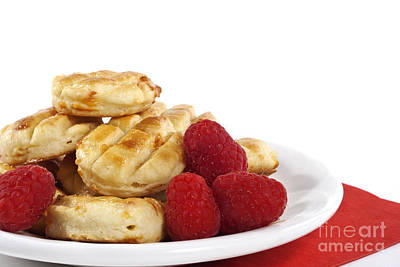 Raspberry Photograph - Pastries And Raspberries by Blink Images