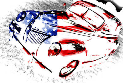 Phil Motography Clark Photograph - Patriotic 39 Ford by Phil 'motography' Clark