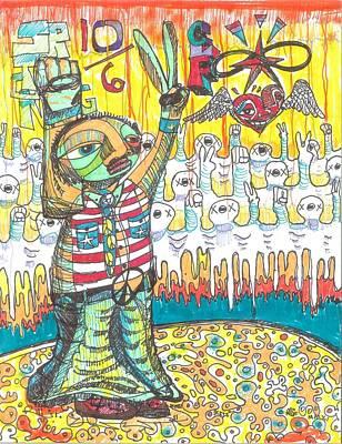 Abstract Hearts Drawing - Patriotic Peace Power by Robert Wolverton Jr