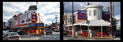 Pats Vs Genos South Philly Cheese Steaks  Print by Bill Cannon