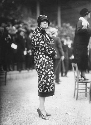 Cloche Hat Photograph - Patterned Coat by Seeberger Freres