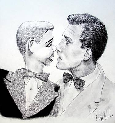 Voice Actor Drawing - Paul Winchell And Ventriloquist Dummy Jerry Mahoney  by Jim Fitzpatrick