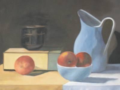 Peaches And Stoneware Original by Linda Loen